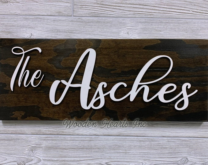Family Name Sign for Home on Wood 3D Established Date CUSTOMIZED  Lettering Welcome PERSONALIZE Wedding Housewarming Gift House 9X23