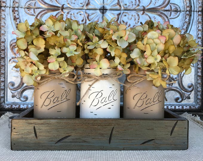 MASON Jar Decor Centerpiece (Flowers optional) -RIVER Rock TRAY with Reclaimed Handles- 3 Ball Canning Painted Pint Jars Distressed Wood