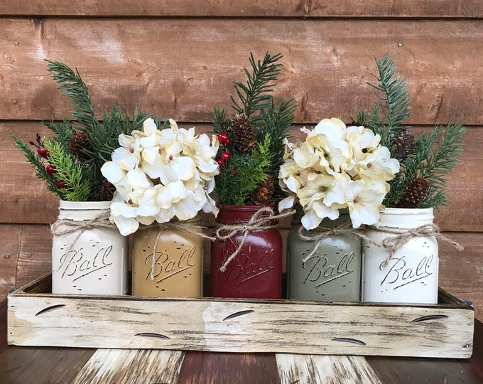 CHRISTMAS HOLIDAY Tray Centerpiece with Jars (Florals optional) Distressed Wood Antique WHITE pine flowers 5 Ball Pint Jar san-mus-bu-pew-cr
