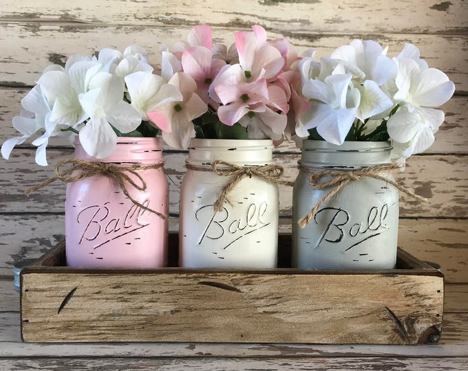 MASON Jar Decor Spring Centerpiece (Flowers optional) -Antique White TRAY with 3 Ball Canning Painted Pint Jars Distressed Wood Pink Gray
