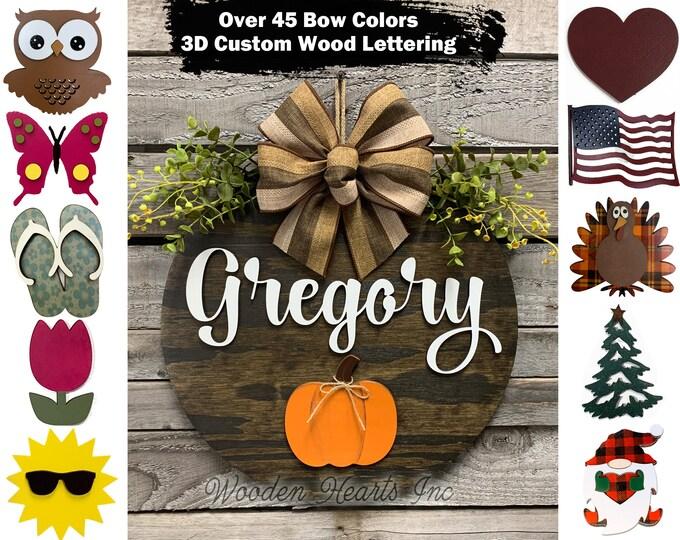 Custom Interchangeable Door Hanger Welcome Wreath porch Front Door Family Name Season Changer Christmas Housewarming Gift Flower Heart
