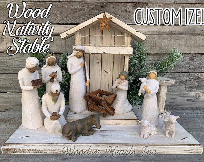 STABLE Nativity WOOD CRECHE fits Willow Tree Angels *Distressed Barn *Christmas Decor Stables *Baby Manger *Angel Stand *White Brown Green