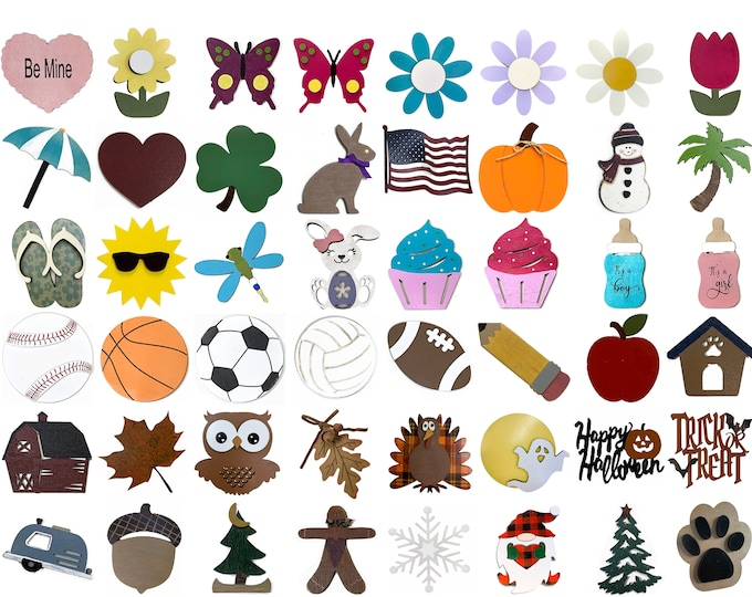 Interchangeable Additional Pieces (for Season Changer WELCOME Sign -Not Included) Heart Clover Bunny Flag Pumpkin Snowman *Christmas Easter
