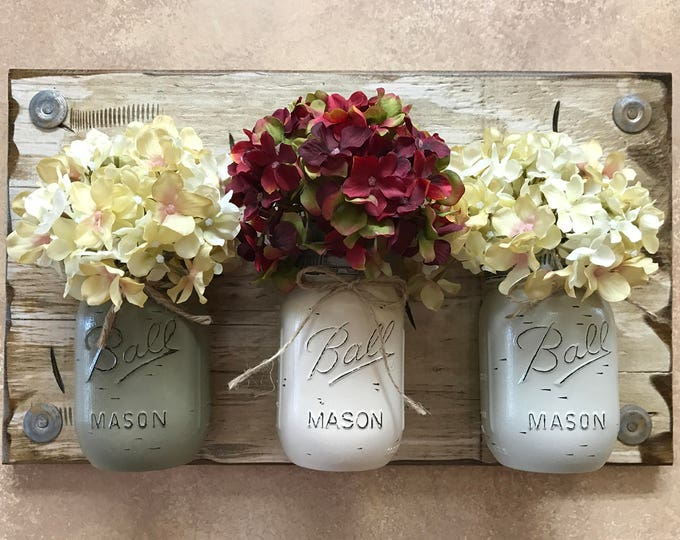 MASON Jar Wall Decor Sconce (Flowers optional) *Kitchen Utensil Holder -Antique White Wood -3 Ball Pint Jars Distressed (Pewter,Crm,Thistle)