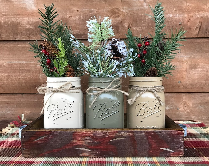 CHRISTMAS HOLIDAY Tray Centerpiece with Jars (Florals optional) Distressed Wood Antique RED pine flowers 3 Ball Pint Jar cream-pewter-coffee