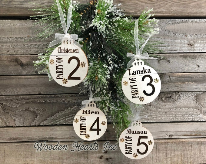 Ornament Personalized Family Party of 1 2 3 4 5 6 7 8 Christmas Last Name Couple First Xmas Wood Engraved Custom Tree Decor Wedding Gift