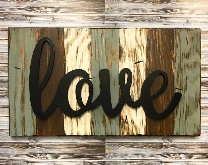 Love, Blessed, Family, Faith, Rustic Word Sign Reclaimed Distressed Wood, Hawaiian Blue, Brown, Burgundy, Black, Large Wall Home Decor 28x16