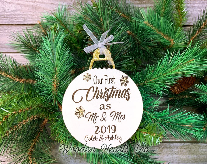 Our first Christmas as Mr and Mrs Ornament PERSONALIZED Wood Laser Engraved Loved One Name Year Date Custom Wedding Tree Decoration Gift