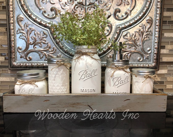 MASON Jar Kitchen Decor MEDIUM Gray Tray Set, Cotton Ball, Tall Quilted, Quart Vase with Flower, Soap Dispenser, Mini Q-tip Jars *Bathroom