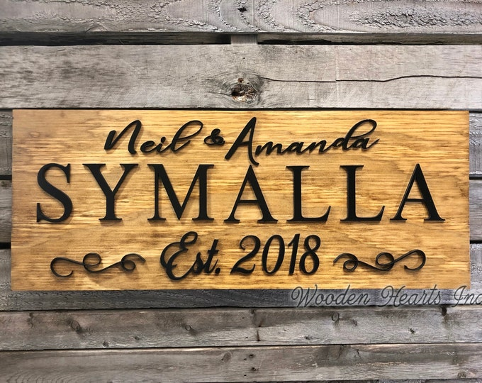 3D CUSTOM Name Sign  Home Wood christmas Family Established Date  Lettering Welcome PERSONALIZED Wedding Shower Housewarming Gift House