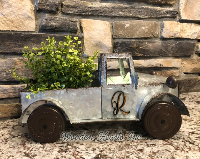 METAL TRUCK Decor Planter + Greenery, Rustic Galvanized Antique Farmhouse Design, (Wood Monogram Letter & LED battery Timer Lights Optional)