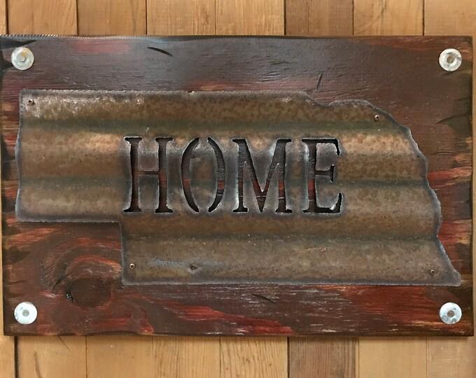 NEBRASKA State Wall Sign with GALVANIZED Metal ~ HOME Reclaimed Distressed ~ Rustic Red White Blue Wood ~ South North Dakota Iowa Minnesota