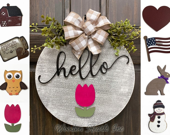 "Hello Door Hanger Welcome Wreath with Bow Front Door Decor + Interchangeable Season Changer Piece 14"" Round Sign, Spring Easter Tulip Heart"