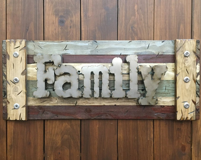FAMILY Rustic Sign Reclaimed Distressed Industrial Navy Blue Green Burgundy Metal Large Pallet Wall Home Decor Log Cabin Gift Shutter 36x14