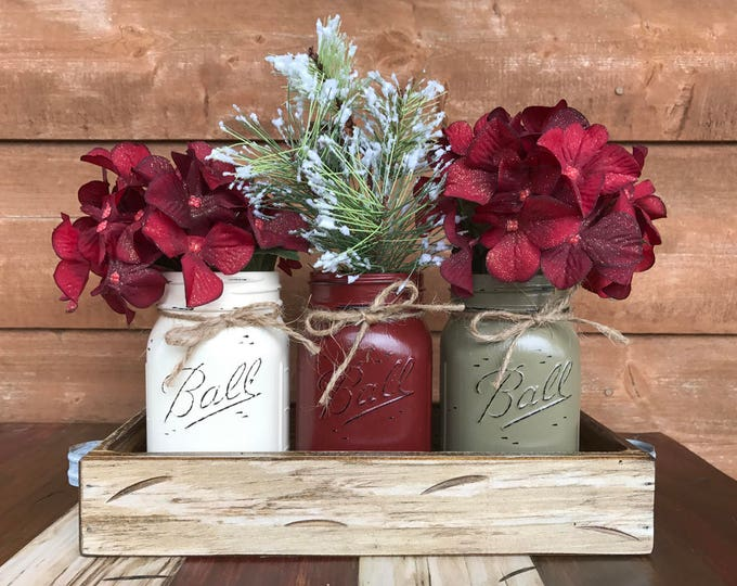 Mason Jar Centerpieces CHRISTMAS HOLIDAY Tray with 3 Jars (Florals optional) Distressed Wood Antique WHITE snow pine evergreens Ball Pint