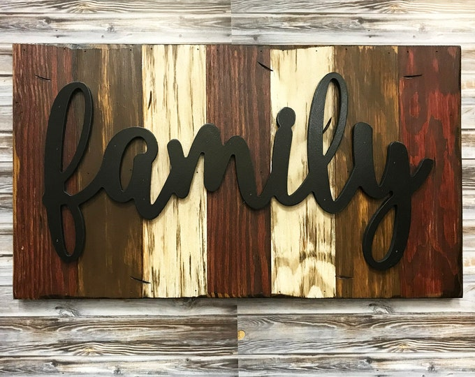 Family, Love, Blessed, Faith, Rustic Word Sign Reclaimed Distressed Wood, Hawaiian Blue, Brown, Burgundy, Black, Large Wall Home Decor 28x16