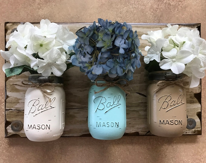 MASON Jar Wall Decor Sconce (Flowers optional) *Kitchen Utensil Holder -Antique White Wood -3 Ball Pint Jars Distressed (Sand,Sea,Coffee)