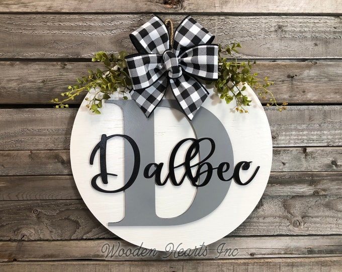 "MONOGRAM Custom Door Hanger 16"" Round name 3D Wood Letter Welcome Sign Wreath Bow Gift housewarming Wedding White Gray Black"