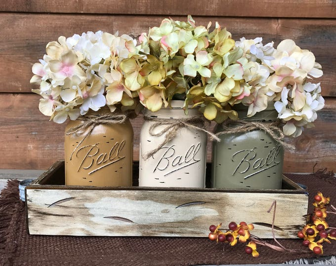 FALL MASON Jars Decor for Thanksgiving Centerpiece (Flowers optional) Antique White TRAY Distressed Wood 3 Ball Painted Pint Jar mus-crm-pew