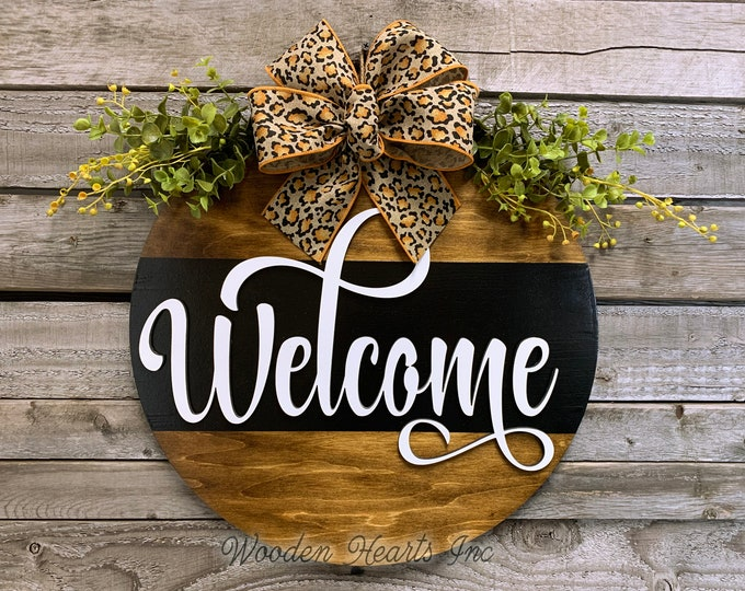 """Welcome Leopard Front Door Decor, HELLO Hanger 16"""" Round with STRIPE, 3D Wood Wreath Bow Ribbon Greenery, Everyday Wall Sign White Black"""