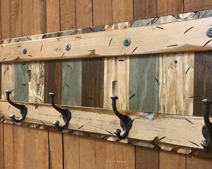 COAT Rack Wall 5 Hook Rustic Reclaimed Distressed BLUE BROWN Sturdy Wood Cabin Entryway Mudroom Bathroom Office Antique White Cream Log 44""