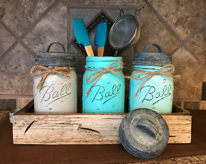 MASON Jar Kitchen CANISTER SET with metal galvanized lids, Mini Utensil Holder, Painted Pint Jars Distressed Blue Gray *Flower Optional