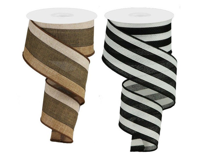 """STRIPE RIBBON roll of Wired 2.5"""" wide X 10 Yard, Create bows, Striped, Tan, Black and White, 1 ROLL"""