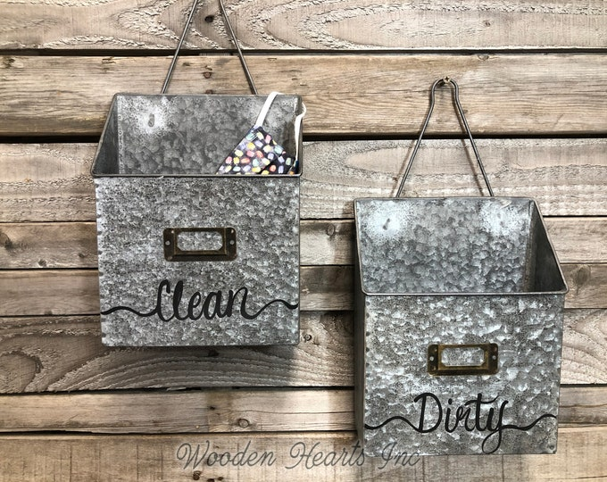MASK HOLDERS for Clean and Dirty Masks *MAILBOXES *Organize Wall Bin *Rustic Metal *Home School Office *Fabric Mask Holder to Wash *Storage