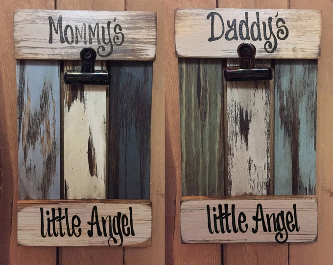 PHOTO SIGN SHUTTER Reclaimed Picture Frame Mommy's little Angel Daddy's Love Mom Dad Baby Shower Parent Nursery Cream Blue Wood Clip Holder