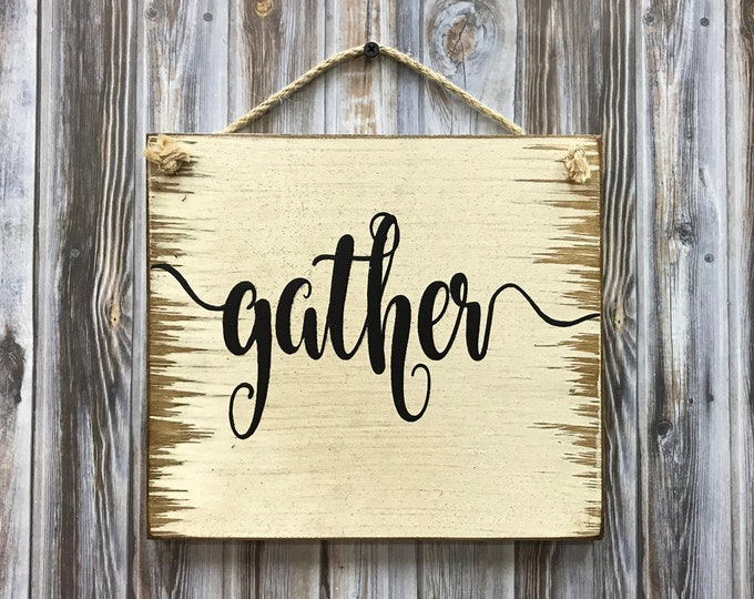 GATHER SIGN 9x8 Wood *Antiqued White with twine *Welcome Grateful Thankful Blessed *Distressed Wooden Wall Sign *Friend Housewarming Plaque