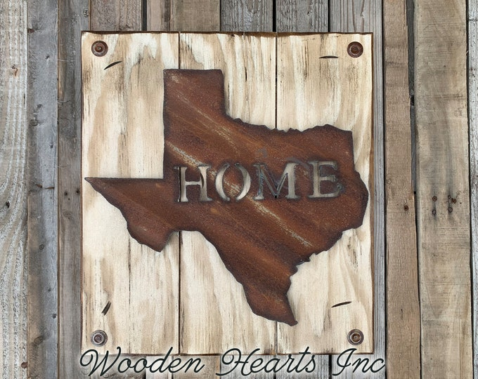 TEXAS Wall Sign with Galvanized Metal *Hang indoor or outdoors *State Shaped HOME Reclaimed Steel Distressed ~ Rustic Antiqued White Wood TX