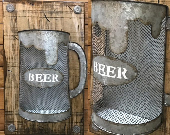 BEER Mug Bottle CAP Holder ~ Stein Shapped Metal Reclaimed Wall Man Cave Decor ~ Distressed Wood Kitchen Bar ~ Chicken Wire Style ~ Cream