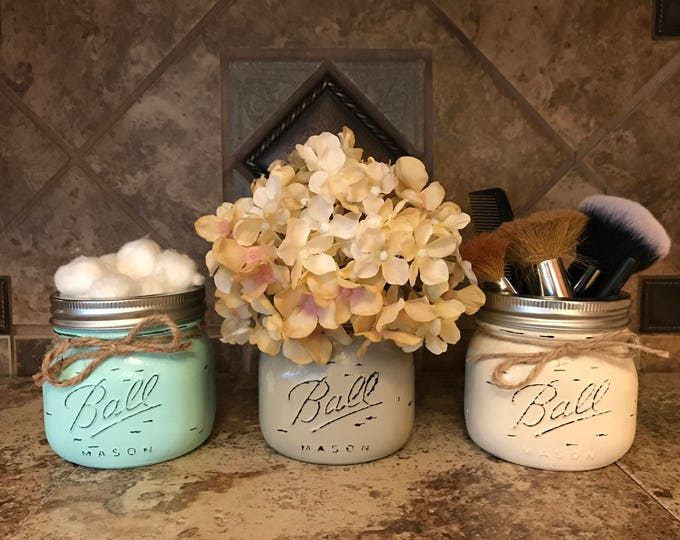 MASON Jar Decor Distressed Ball SHORT PINT Hand Painted Jars Cream Tan Brown Gray Teal Blue Bathroom Kitchen Q-tip Makeup Cotton Holder