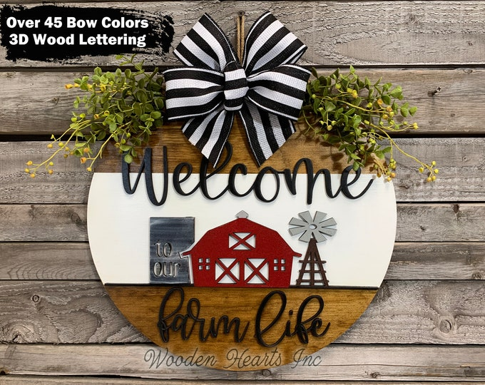 """WELCOME to our FARM Life Sign Front Door Hanger 16"""" Round Stripe, 3D Wood Wreath Bow,  House Warming, Wedding, Anniversary Windmill Gift Dad"""