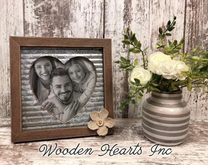 PICTURE FRAME Metal Heart with wood frame and burlap flower *5X5 picture *Rustic Farmhouse Silver *Love Family Anniversary Wedding Pets Kids