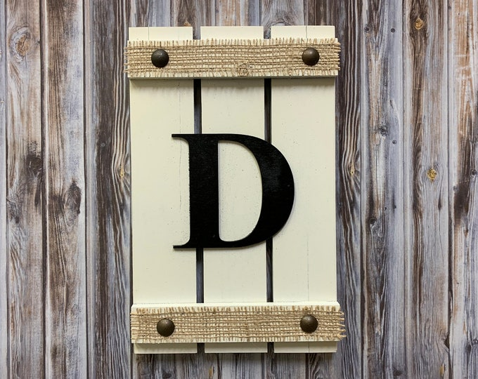 LETTER SIGN Monogram Family Sign Rustic Wood Personalized Shutter Distressed Black and White with Burlap Pallet Wall Home Country Decor 14x9
