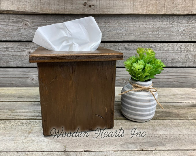 TISSUE BOX COVER, Wood Kleenex Holder, Square, Kitchen Bathroom, Wooden rustic distressed decor, antique red blue gray white cream brown 6""