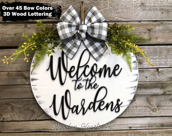 """Personalized Door Hanger, 3D Wood Welcome Wreath, Customize Last Name Bow +Greenery, Front Decor Everyday 16"""" Round Sign, Fall Sign, Gift"""