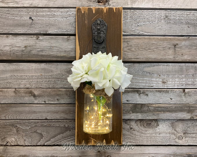 LIGHTED Wall SCONCE (Flower optional) *String Lights *Battery Operated 6 Hour Timer *JAR *Metal Hook -Reclaimed Distressed Rustic Brown Wood