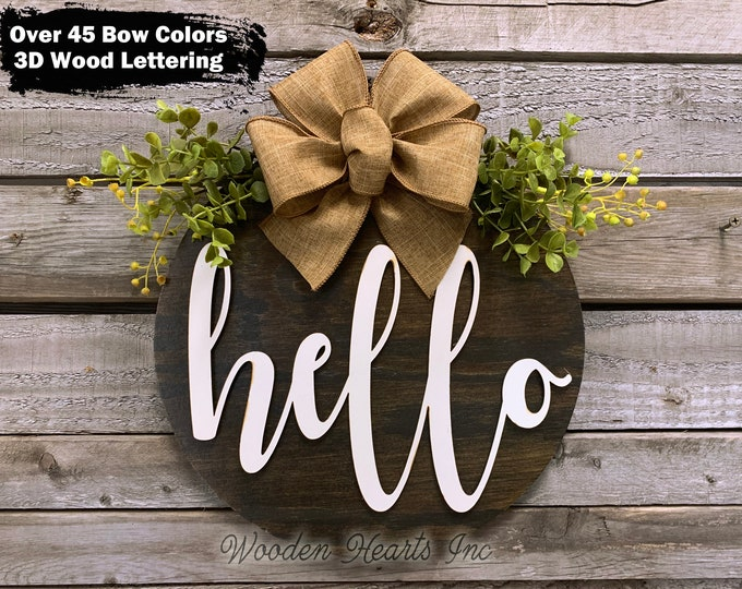 """HELLO Round Sign, Wood Wall Mount 12"""" Circle 3D, Home Decor with Bow (Magnetic optional), Housewarming Gift, Welcome Sign, Fall Door Sign"""