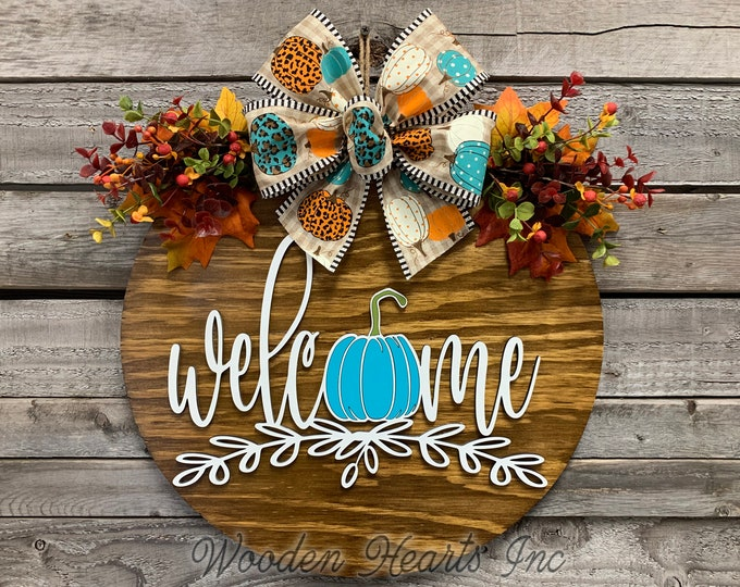 """FALL Door Hanger Wreath, WELCOME Pumpkin, Wood Round Sign 16"""", 3D Wood Lettering, Bow Leaves with Berries, Fall Decor Sign, Blue, Brown"""