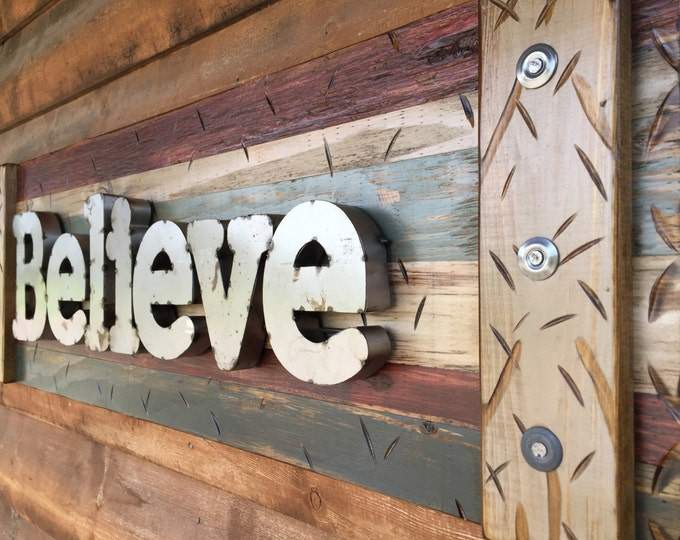 BELIEVE Rustic Sign BURG Reclaimed Shutter Distressed Industrial Red Burgundy Blue Green Metal Large Pallet Wall Faith Home Decor Log Cabin