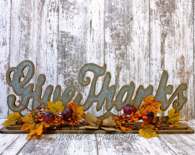 FALL DECOR Farmhouse Welcome Give Thanks Free Standing Cutout Word Sign floral arrangement leaves greenery garland Thanksgiving Decorations