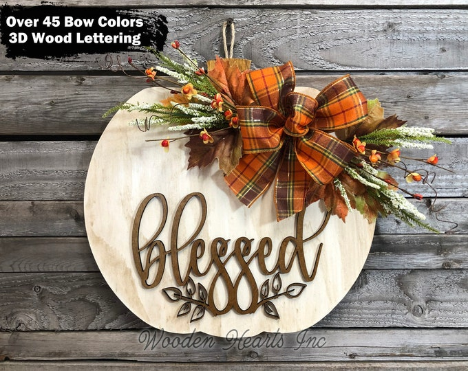 """FALL Sign for Front Door, WELCOME or Blessed Sign Hanger, 16"""" PUMPKIN Shaped 3D Wood Lettering + Bow, Autumn Leaves, Fall Decor, Fall Gift"""