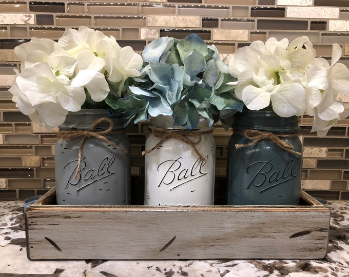 MASON Jar Decor Centerpiece (Flowers optional) -Distressed Antique Wood Tray + Handles, 3 Ball Painted Pint Jars, Kitchen Table Decor, Gift