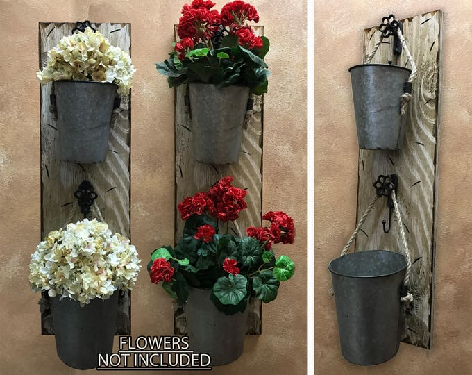 Wall Planter Outdoors Antique White Red Flower Pot Herb Garden Holder Distressed Rustic wood Sconce with Tin Bucket Pail metal hook Decor