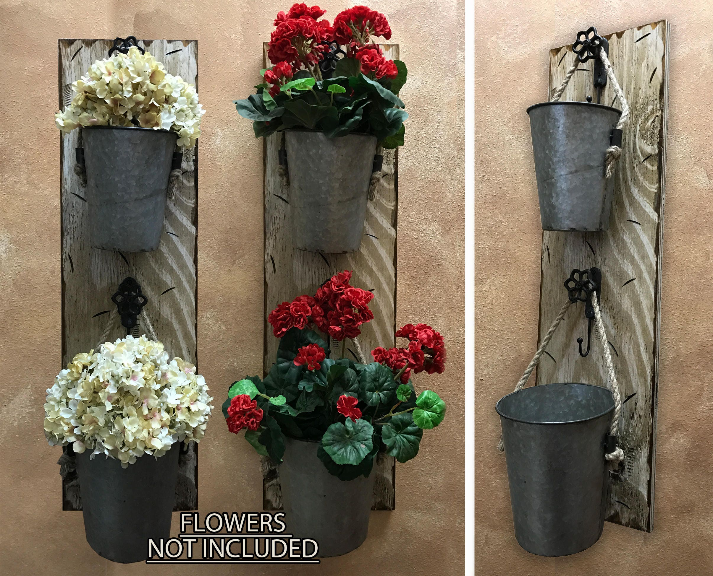 Wall Planter Outdoors Antique White Red Flower Pot Herb Garden