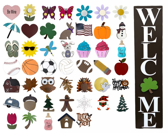 WELCOME Interchangeable Sign with 6 SEASON CHANGER Pieces Vertical *Heart Clover Bunny Flag Pumpkin Snowman *St Patrick's Day Holiday Easter