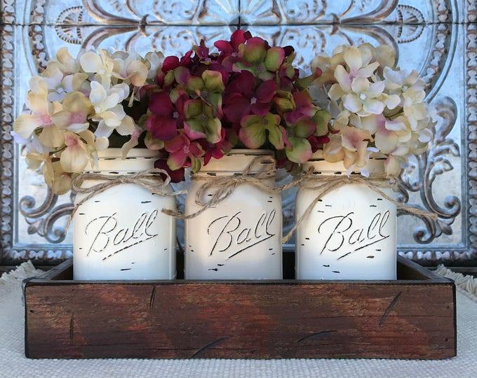 MASON Jar Decor Centerpiece, Wood Tray + 3 Ball Jars, Kitchen Home Decor, Kitchen Table Decor, Housewarming Gift, Gift (Flowers optional)