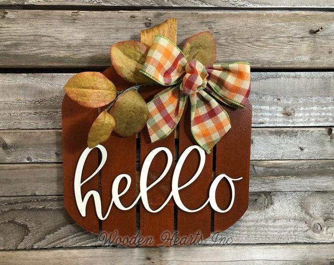 PUMPKIN FALL Decor hanger Pallet sign Wreath Welcome or Hello Porch Wood 3D Wood Custom Bow Leaves Autumn White Orange